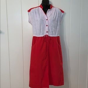 Vtg 70s red and white dress/terry cloth bodice